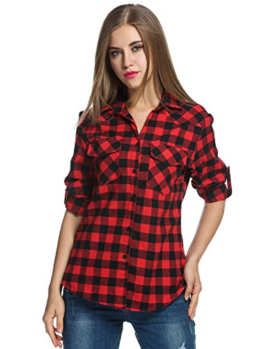 Kindes Womens Black and White Checked Flannel Shirt Button-Down Shirts