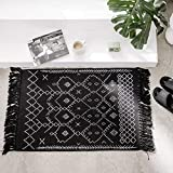 Cotton Woven Tassels Black White Bathroom Rug - Geometric Small Tribal Boho Knotted Cute Throw Chindi Rag Rug 2'x3' for Bedroom Living Room Laundry Entrance Kitchen, Thin Decorative Washable