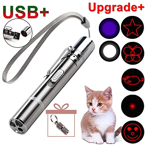 GO! On The Rechargeable Upgrade Pet Training Exercise Chaser Tool, 3 Mode,7-in-1 Cat Light Toy+A Small Pet Tag