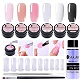UR SUGAR 15ml Poly Extension Gel Kit -4 Boxes Poly Crystal Gel Nail Extended Builder with Slip Solution, 100Pcs Tip Molds and Pen Brush+Gel Picker Tool Kit, All-in-One Master Kit