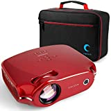 Crenova XPE498 Video Projector, Multimedia Home Theater with 3200 Lumens, Supports HDMI/VGA/USB/AV/SD/PC/Smartphone/Tablet/Xbox for World Cup/Movie Night/Gaming (Top Digital Trend in 2019) (Red-Bag)