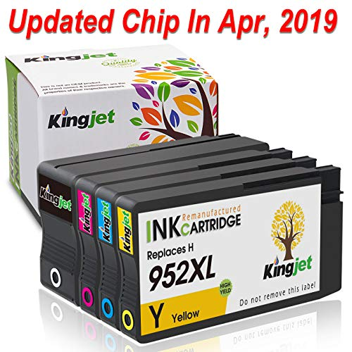 [Updated Chips] Kingjet Re-Manufactured Ink Cartridge Replacement for 952XL Work with Officejet Pro 7740 8210 8216 8702 8710 8715 8720 8725 8730 8740 Printers, 1Set (1Black 1Cyan 1Magenta 1Yellow)