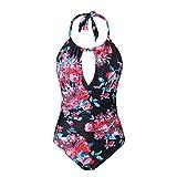 CASTDREAM Women's Girl's High Neck Swimwear Tummy Control Bathing Suit One Piece Plus Size Swimsuits Black Flower Large CAS10003-16L