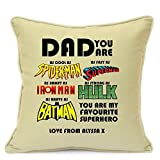 Personalized Presents Gifts For Daddy Dad Fathers Day Birthday Christmas Xmas Superheroes Spiderman Superman Ironman Hulk Batman Cushion Cover 18 Inch 45 Cm Home Decorations