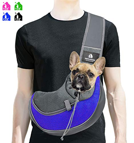 BREADEEP Pet Sling Carrier, Small Dog Cat Sling Bag for Travel, Hands Free Front Pack Chest Carrier with Breathable Mesh Pouch 1
