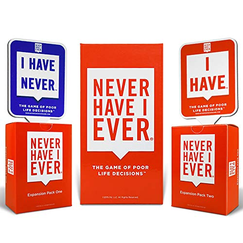 Never Have I Ever Combo Pack Card Game and Expansion Pack One & Two and 10 Paddles 1