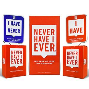 Never Have I Ever Combo Pack Card Game and Expansion Pack One & Two and 10 Paddles 11