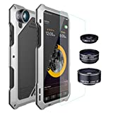 iPhone X Lens Kit Case iPhone Xs Lens Kit Case, SHEROX - 198° Fisheye Lens + 15X Macro Lens + Wide Angle Lens Aluminum Case with Screen Protector for iPhone X/iPhone Xs 5.8
