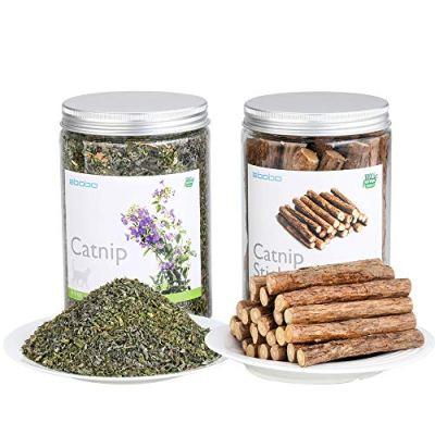 abobo Catnip + Catnip Sticks/Matatabi/Silver Vine Value Set – 100% Natural Organic for Cats Dental Cleaning (3.5 oz + 8…