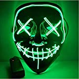 Moonideal Halloween Light Up Mask EL Wire Scary Mask for Halloween Festival Party Sound Induction Flash with Music Speed (Green)
