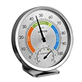 LittleGood 5' Indoor Outdoor Hygrometer/Thermometer, Humidity Gauge Indicator Temperature Humidity Monitor, Analog Hygrometer Humidor (English Version)