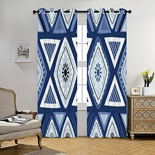Blue Geometric Insulated Curtains