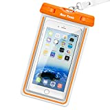 Waterproof Case, Ace Teah Clear Universal Waterproof Case, Dry Bag, Pouch, Transparent Snowproof Dirtproof Protective Cover for iPhone 8, 7, 6S, 6 Plus X Samsung Galaxy S7 S6 edge, Note 5 4 - Orange