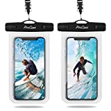 ProCase Universal Waterproof Case IPX8 Waterproof Cellphone Dry Bag Underwater Case for iPhone Xs Max XR X 8 7 6S Plus Galaxy up to 6.8', Protective Pouch for Pool Beach Kayaking Travel -2 Pack, Clear