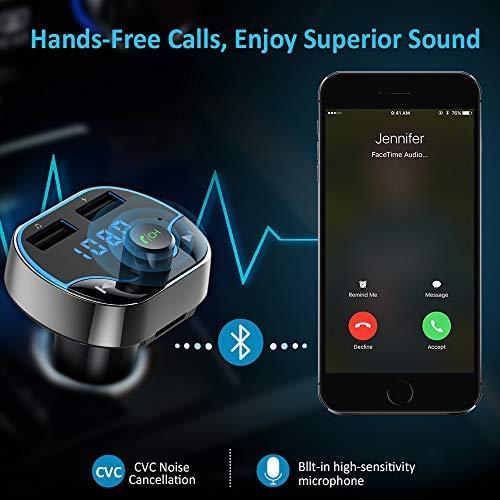 Bovon Trasmettitore FM Bluetooth,FM Transmitter per Auto Radio, MP3 Audio Lettore, Adattatori Vivavoce Car Kit, Caricabatterie Auto con 2 Porte USB (5V/2.4A & 1A) Supporta Scheda TF/U Disk (Nero)