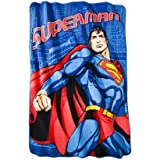 "Superman Micro Raschel Blanket Twin Size Oversized 69"" x 90"" Throw"