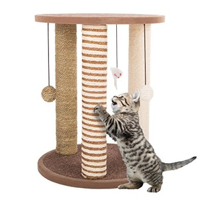 3 Scratching Posts, Carpeted Base Play Area and Perch, Furniture Scratching Deterrent Tree for Indoor Cats