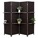 MyGift Decorative Hand Woven Bamboo 4-Panel Room Divider with 2 Tier Removable Display Shelves, Black