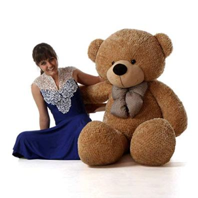 HUG-n-FEEL-SOFT-TOYS-Long-Soft-Lovable-hugable-Cute-Giant-Life-Size-Teddy-Bear-6-Feet-Brown