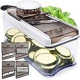 Adjustable Mandoline Slicer Vegetable Slicer - Potato Slicer Veggie Slicer 5 Blades - Vegetable Cutter Slicers for Fruits and Vegetables - Grater and Julienne Slicer