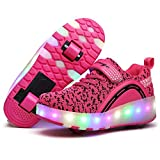 Nsasy YCOMI Girl's Boy's LED Light Up Shoes Single Wheel Double Wheel Roller Skate Shoes(32 M EU / 1 M US Little Kid)