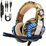 Beexcellent Pro Stereo Gaming Headset for PS4 Xbox One PC, All-Cover Over Ear Headphones with Deep Bass Surround Sound, LED Light & Noise Canceling Microphone for Nintendo Switch Mac Laptop