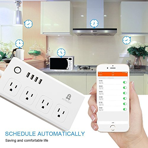 ASTRODOT WiFi Smart Power Strip Surge Protector, Smart Plug Remote Control  Outlet with Schedule Via App Android/ IOS Smart Phone, Work with