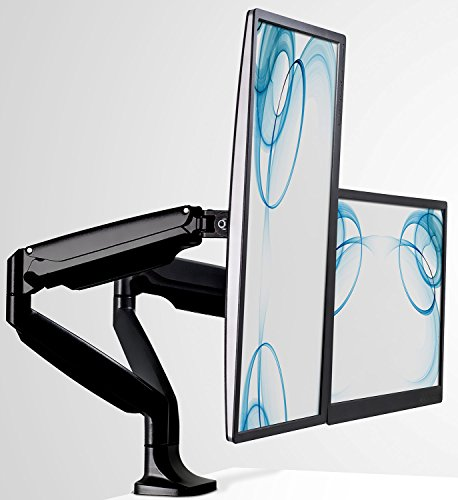Mount-It! Dual Computer Monitor Mount Arm, LCD Monitor Stand for Desk, Clamp, Articulating Gas Spring Arms, Computer Monitors up to 32 Inches, VESA 75x75 100x100, 20 Lb Capacity Each Arm, Black