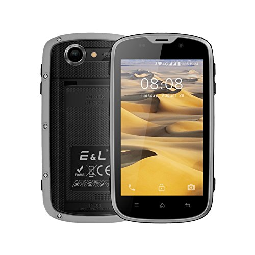 E&L W5 Rugged Unlocked Smartphone with Wateproof IP68 Dustproof 4G LTE Android 6.0 Unlocked Outdoor Phones - 〖AT&T / T-Mobile 〗 (Gray)