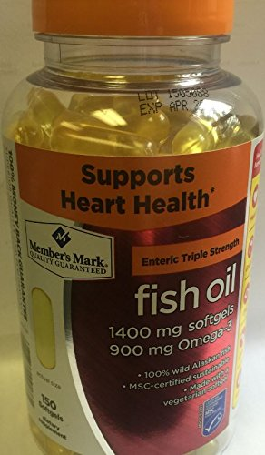 Member's Mark Enteric Triple Strength Fish Oil 1400mg Softgels 900mg Omega-3 DHA EPA (1 bottle (150 softgels))