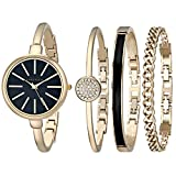 Anne Klein Women's AK/1470GBST Gold-Tone Watch and Bracelet Set