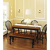 Better Homes and Gardens Autumn Lane 6-Piece Dining Set, Black and Oak by Better Homes