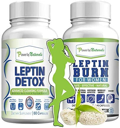 Leptin Detox + Leptin Burn Combo - Vegan - Leptin Supplements for Weight Loss for Women - Leptin Resistance Supplements - All Natural Safe and Effective - Non-GMO - 1 Month 1