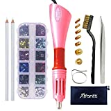 Hotfix Applicator, Afantti Rhinestone Setter Hot-fix Applicator Wand Tool Hot Fix Kit Set with 7 Tips & Hotfix Rhinestones, Pink