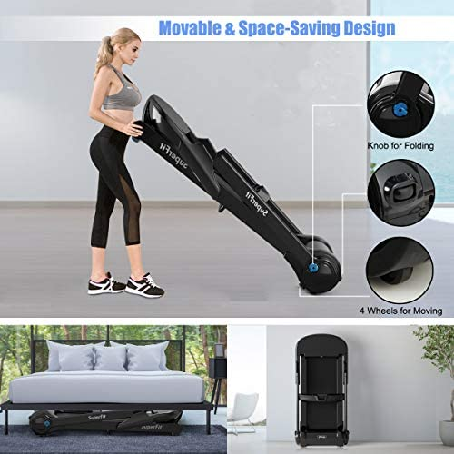 Goplus Electric Folding Treadmill, Portable Running Jogging Machine with Bluetooth Speaker and 17'' Wide Tread Belt, Perfect for Home and Office Use 5