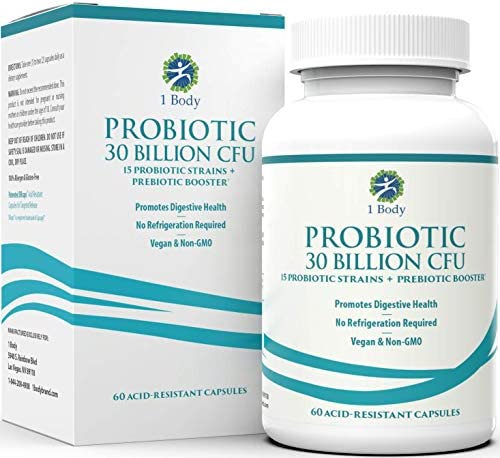 30 Billion CFU Probiotic Supplement with Prebiotics – Patented Acid Resistant Capsules to Promote Gut Health, Support Immune System – Probiotics for Women and Men of All Ages - 60 Vegetarian Capsules 1
