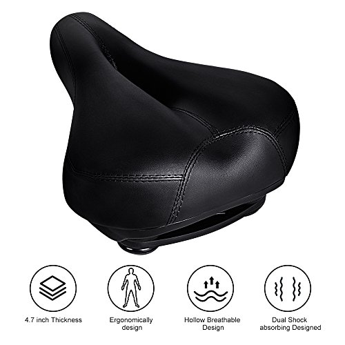 Bicycle Seats Comfort Artificial Leather Bike Seat Gel, 10.6' x 8.25 ', Tonbux Bike Seat Replacement with Bicycle Reflective Tape Dual Shock Absorbing Ball with Mounting Wrench-Black