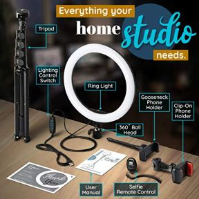 Radiance-10-Ring-Light-with-Tripod-Stand-74-Tall-Dual-Phone-Holders-3-Lighting-Selfie-Circle-LED-Lights-Ringlight-for-Video-Recording-Conference-Makeup-iPhone-Laptop-Computer-Webcam