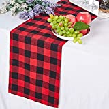 LBG Products Christmas 48'' Red and Black Buffalo Plaid/Check Tree Skirt with Xmas Double Layers and Pom Pom Trim Ornaments. Decorations for Holiday Christmas Holiday,New Year Party