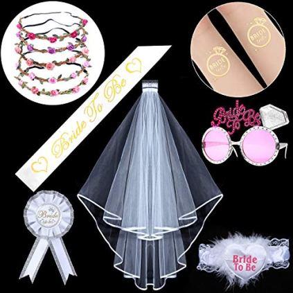 htbakoi-EVJF-Accessoire-Enterrement-de-Vie-de-Jeune-Fille-Kit-Bride-to-Be-5-Couronne--Fleurs5-Tatouages-Inclut-Voile-MarieEcharpeLunetteCocardeJarretire-Voiles-de-Mariage-Bachelorette-Party