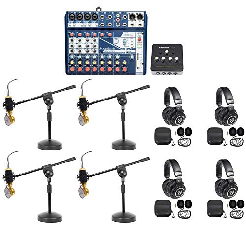 Soundcraft-4-Person-Podcast-Podcasting-Recording-Kit-MicsHeadphonesBoom-Stands