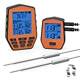 [2019 Latest] Wireless Remote Digital Cooking Food Meat Thermometer with Dual Probe for Smoker Grill BBQ Thermometer