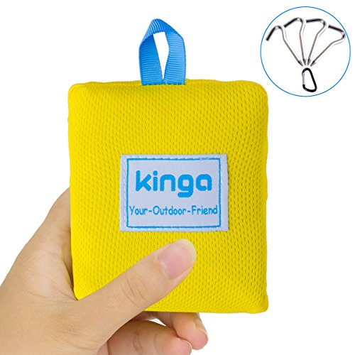 KINGA Limited Offer Camping Blanket Hiking Blanket Picnic Blanket Beach Blanket Sheet Pocket Fit Lightweight Water Repellent Large Size 5.3 x 3.6 ft All Weather Suitable Portable for Outdoors