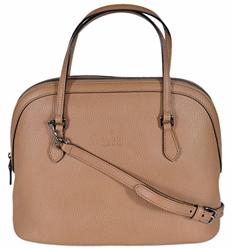 51bUU0 k4YL Textured Light Brown Leather, Embossed Gucci Trademark Logo, Domed Structured Styling Dual Flat Straps with a 4 inch Drop, Detachable Shoulder Strap with a 19 inch Drop Top Zip Closure, Interior Zip and Slip Pockets, Interior Gucci Serial Number