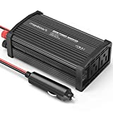 Maxboost 300W Power Inverter Dual 110V AC Outlet + Two 2.4A/24W USB Ports Car Charger [Aluminum & PC Body] DC 12V to 110V AC + DC 5V USB Battery Charger for Laptop,iPad,iPhone,Tablet,Phone