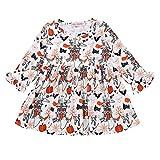 BCDshop 12M-6T Toddler Kids Baby Girls Halloween Pumpkin Long Sleeve Fall Dress Clothes (90, White)