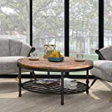 Harper & Bright Designs OD005 Easy Assembly Hillside Rustic Natural Coffee Table with Storage Shelf for Living Room, Round