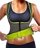 GAODI Women Waist Trainer Vest Slim Corset Neoprene Sauna Tank Top Zipper Weight Loss Body Shaper Shirt (XL,Gray)