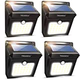 Neloodony Solar Lights Outdoor, Wireless 28 LED Motion Sensor Solar Lights with Dark Sensing Auto On/Off, Easy Install Waterproof Security Lights for Front Door, Back Yard, Driveway, Garage (4 Pack)