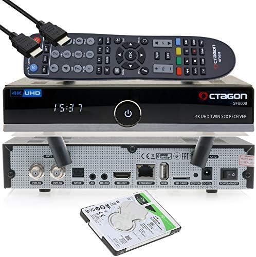 OCTAGON SF8008 4K UHD HDR Twin Sat Festplattenreceiver 2xDVB-S2X Multistream – E2 Linux IPTV Smart TV Box, Media Server, PVR Receiver mit Aufnahmefunktion – inkl. HDMI-Kabel & Dual WiFi [1TB intern]